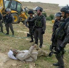 The IDF demolished this aged Palestinian gentleman's house, & shoved him when he resisted. What brave creatures..6 soldiers vs one old man..shameless.   It truly is shameless and the world just keeps watching. SHAME ON ALL WHO CHOSE TO LOOK AWAY> the Palestinians blood is on YOUR HANDS TOO!!! ... kd