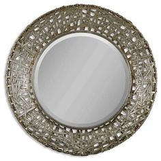 And the winner is! This woven metal mirror gets top billing for most striking appearance in a dramatic setting. Hang this winning, antique-stained champagne mirror in a hallway, bath or bedroom — wherever it can have the most impact.