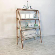 Copper Pipe Ladder Shelf Display Shelf Tapered Shelf