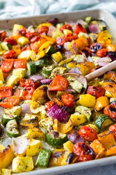 Greek Vegetables Roasted Greek Vegetables on a sheet pan with a wooden spoon.Roasted Greek Vegetables on a sheet pan with a wooden spoon. Vegetarian Recipes, Cooking Recipes, Healthy Recipes, Budget Recipes, Easy Recipes, Greek Side Dishes, Greek Vegetables, Healthy Vegetables, Roasted Vegetable Recipes