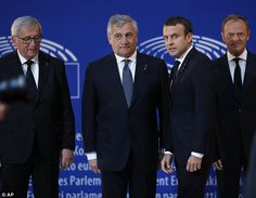 The leaders on the Neo-Totalitarism: European Commission president Juncker (left), European Parliament president Tajani (secon...