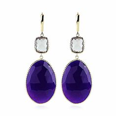 Perfectly paired. Purple chalcedony and lavender amethyst gemstone earrings. Hand set into rich 14k gold.   we make #jewelry, gemstone jewelry.  www.amazinite.com