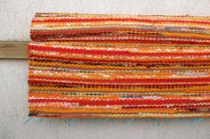 Handwoven Rag Rug  sunny yellow orange 2.43' x 5.77' by dodres