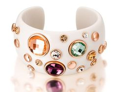 Ninabox ® The Queen Collection [TQC] -- Treasure Box. Alloy and White Viscose Cuff Bracelet with Multicolored Swarovski Elements Crystal.