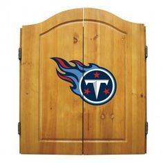 The Tennessee Titans Dart Board Cabinet with dartboard, darts, scoreboard, chalk and eraser, the Titan NFL logo is on the front