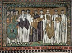 San Vitale, North wall mosaic: Justinian