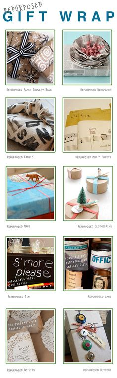 Creative ideas for gift wrap, image by Salvaged Grace...