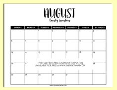 Free Printable Fully Editable  Calendar Templates In Word