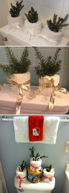 Top 31 Awesome Decorating Ideas to Get Bathroom a Christmas Look #ChristmasHomeDecorating,