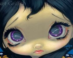 Faces of Faery 155 butterfly purple big eye fairy face art print by Jasmine Becket-Griffith 6x6