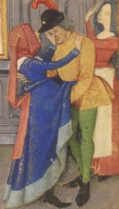 Detail from Lust, part of the Book of Hours of Robinet Testard, Poitiers, France. Circa 1475. MS M.1001, fol. 98r Held at the Morgan Library
