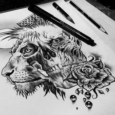 Lion, skull, rose, pearls, moon tattoo design WIP by Cleicha.deviantart.com on @DeviantArt