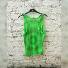Tie Dye Tank Top Bright Green Tie Dye Womens Top to fit UK size 16 or US size 12 Grunge Christmas Gifts for Her