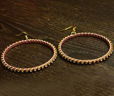Pink Beads Wrapped Rhinestones Hoops Earrings Online Shopping Store India : HISTORY OF EARRINGS JEWELLERY
