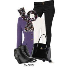 Purple sweater Black print scarf Black jeans Booties