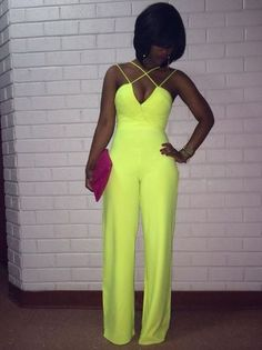 Cheap Sexy V Neck Off The Shoulder Sleeveless Backless Solid Yellow Polyester One-piece Regular Jumpsuit Fashion Killa, I Love Fashion, Passion For Fashion, Fashion Looks, Fashion Outfits, Womens Fashion, Fashion Trends, Overall, Mode Style