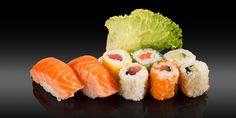 KOCHI - 8 pièces - 2x nigiri: saumon grillé 3x maki feuille de soja: thon, saumon, concombre 3x maki tobiko: thon, saumon, concombre Bento, Kochi, Ethnic Recipes, Grilled Salmon, Cucumber, Tuna