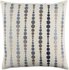 Emma Gardner Dewdrop Gray & Cream Throw Pillow lends eye-catching design and color to sofas, chairs, and beds. This graphic design features soft gray circles against a creamy background. The cozy cotton fabrication and down fill make for a perfectly plush accent.
