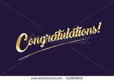 Congratulations card. Vector Illustration. Congratulations -  inscription, Calligraphy lettering. Gold text on dark background.