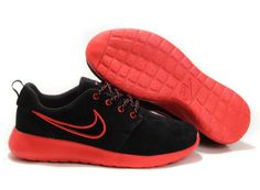 sports shoes 4904a 5f38e UK Roshe Run Suede Womens Black Red Nike  D34  Red Nike Shoes, New