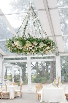 Overgrown Garden-Inspired Hanging Floral Chandelier | Branch Design Studio https://www.theknot.com/marketplace/branch-design-studio-mt-pleasant-sc-332315 | Boutique Planning https://www.theknot.com/marketplace/boutique-planning-charleston-sc-748777 | Paige Winn Photo https://www.theknot.com/marketplace/paige-winn-photo-charleston-sc-763069