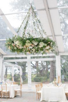 Overgrown Garden-Inspired Hanging Floral Chandelier   Photo: Paige Winn Photo   Chandelier: Branch Design Studio  