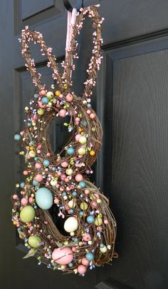 Cute decorations for easter time that I could try to remake. Easter Wreath Bunny Wreath Easter by EverBloomingOriginal images modern Your place to buy and sell all things handmade Easter Crafts, Holiday Crafts, Holiday Fun, Easter Decor, Wreath Hanger, Happy Easter, Easter Bunny, Easter Wreaths, Handmade Design