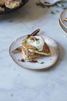 Bacon Scallion Griddle Cakes & Maple Creme Fraiche