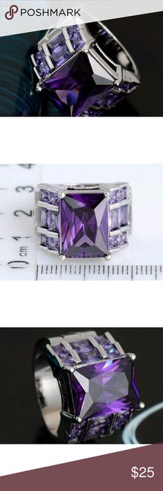 Amethyst European Crystal Luxury Ring Simply gorgeous ring with majestic shine and sparkle!  This ring will get you noticed!  Marked 925 inside.    Available in size 9, & 10.  Highest quality costume jewelry. Jewelry Rings