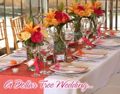 Pink, tangerine and yellow...all the makings of a fun garden or spring wedding.