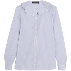 Vanessa Seward Candy striped cotton-poplin blouse (19.895 RUB) ❤ liked on Polyvore featuring tops, blouses, white, candy stripe shirt, striped top, stripe shirt, stripe blouse and white ruffle collar blouse