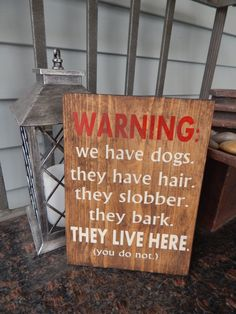 Dog lovers quote sign, Dog quote decor, 'Warning my dog lives here' quote sign Available in many options