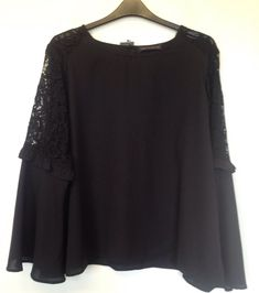 MARKS & SPENCER BLACK LACE BATWING SLEEVE DETAIL TOP - SIZE 28 - BNWT #MarksandSpencer #Party