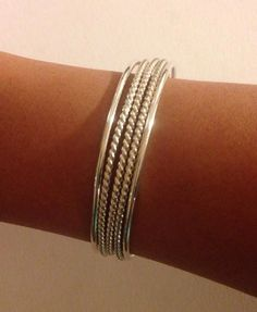 Sterling Silver Bangles 12 Gauge Set of 5, Slim Custom smooth and twisted design Bangle Bracelets on Etsy, $135.00