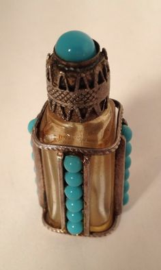 Antique Perfume Bottle With Turquoise AND Silver Perfume Atomizer, Antique Perfume Bottles, Perfumes Vintage, Beautiful Perfume, Glass Collection, Glass Bottles, Antiques, Silver, Ebay