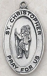 """SAINT CHRISTOPHER MEDAL, Price includes shipping to all fifty states. Solid sterling silver medal, approx. 3/4"""" in height. Gift boxed with a complimentary 20"""" stainless steel chain. Carries the Creed lifetime guarantee."""