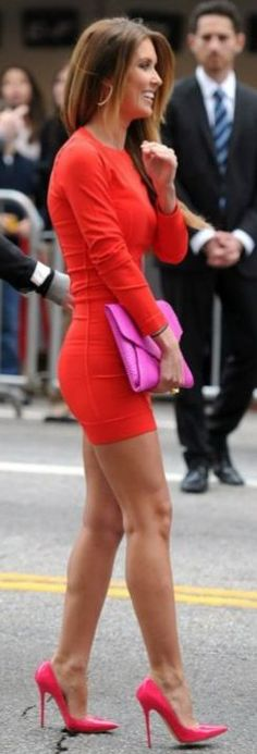 Red & Hot Pink dress & shoes & those  PRETTY LEGS