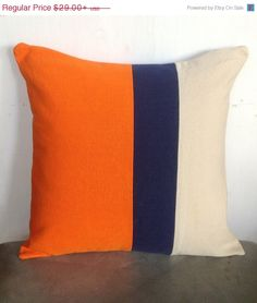 SP001 orange pillows-  Orange, Navy and Cream 16 inches - Throw pillows color block pillows-Custom made to any color on Etsy, $31.11 AUD