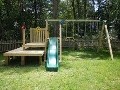 Backyard Diy Playground For Kids Swing Sets 30 Super Ideas Backyard Swing Sets, Backyard Playset, Diy Swing, Backyard For Kids, Backyard Patio, Diy For Kids, Backyard Ideas, Outdoor Playset, Garden Kids