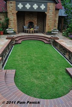 sunken lawn.  What a great idea to do with an empty pool!