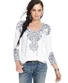 Lucky Brand Jeans Top, Long-Sleeve Split-Neck Stitched - Womens ...