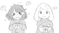 Chara and Asriel playing Video Games