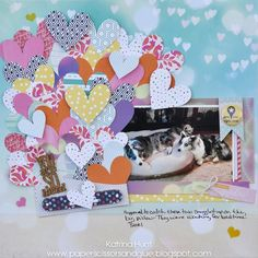 The idea for this layout came from?? Seriously, I have no idea! I am thinking I saw the hearts on the background papers and then just went from there. And this picture of Higgins and Jetson, defini