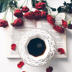 rose, book, and coffee image But First Coffee, I Love Coffee, Coffee Break, My Coffee, Coffee Drinks, Morning Coffee, Coffee Shop, Coffee Cups, Tea Cups