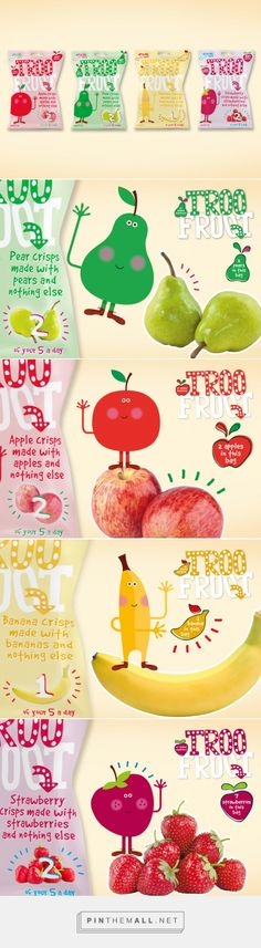 Troo Froot fresh approach by Point 6 Design curated by Packaging Diva PD. A packaging smile to start your day : ) Kids Packaging, Pouch Packaging, Fruit Packaging, Beverage Packaging, Cookie Factory, Biscuits Packaging, Baby Fruit, Food Pack, Strawberry Crisp