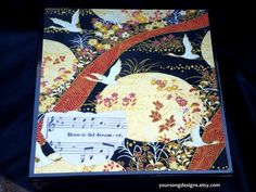 Dream! Keepsake Box Asian Art Design with Vintage Sheet Music by YourSongDesigns on Etsy