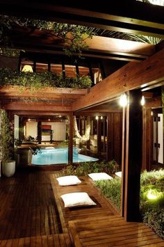Timber/Green/Pool House - Just The Design Future House, Design Exterior, Interior Exterior, Outdoor Rooms, Outdoor Living, Architecture Design, House Fan, Zen House, Prefab Homes