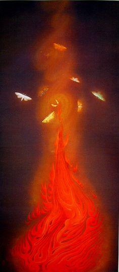 速水御舟《炎舞》| HAYAMI Gyoshu - Dance of Flames (Enbu), 1925 。