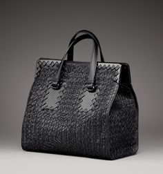 Bottega Veneta Nero Intreccio Tricot Rafia Bag
