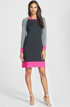 Eliza J Colorblock Shift Sweater Dress   Nordstrom